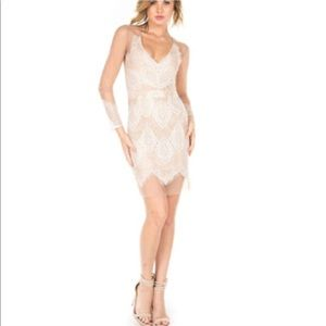 Nude white lace crochet mesh dress
